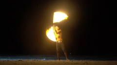 Fire show on the beach Stock Footage