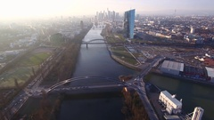Helicopter Flight over Frankfurt EZB - Aerial Stock Footage