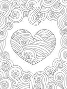 Coloring page with heart and wave curly ornament Stock Illustration