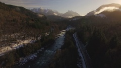 Winter Morning Aerial Over Skykomish Mountain Valley with River and Highway 2 Stock Footage