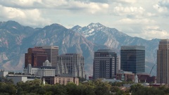 View of downtown Salt Lake City against the Wasatch Mountains Stock Footage