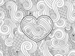 Coloring page with heart and asian wave curl ornament. Happy valentine day love Stock Illustration