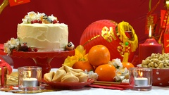 Chinese New Year party table Stock Footage