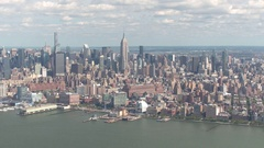 AERIAL: Helicopter on sightseeing tour flying around New York City on sunny day Stock Footage