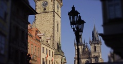 View of old tower church in Prague main square slow motion Stock Footage