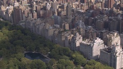 AERIAL: Flying above Upper East side overlooking green Central park in New York Stock Footage
