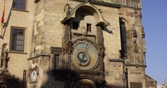 Czech Republic, Prague. The old town square. The ancient astronomical clock on Stock Footage