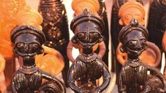 Wood made handicraft items on display , Kolkata Stock Footage