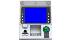 ATM (Automatic Teller Machine) Blue Screen Display (zoom in) Arkistovideo