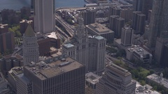 AERIAL: Flying above Manhattan Borough President's Office in New York downtown Stock Footage