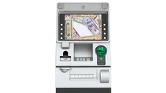 ATM (Automatic Teller Machine) and Dollar Money Blurred On Screen Display (loop) Arkistovideo