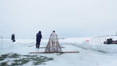 KAZAN, RUSSIA - JANUARY 19, 2017: Jesus Christ's baptism holiday on kazanka Stock Footage