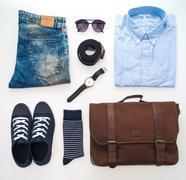 Beautiful fashion clothes set for men Stock Photos