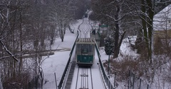 Prague Petrin funicular railway going down from Petrin hill station, Czech Stock Footage