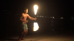 Full moon party fire show Stock Footage
