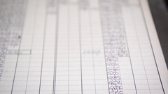 A number chart with different values used in manufacturing. Stock Footage