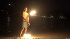 Full moon party burning torches show Stock Footage
