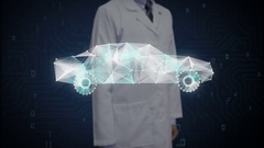 Engineer touching Digital lines create Electronic car shape,  future car. Stock Footage