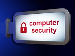 Safety concept: Computer Security and Closed Padlock on billboard background Piirros