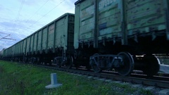 Freight train with cargo containers passing by Stock Footage