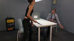 Delayed criminal is trying to attack police detective in the interrogation room Stock Footage