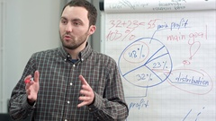 Young worker making business presentation using flipchart Stock Footage