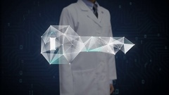 Doctor touching Digital lines create key shape, digital security solution. Stock Footage