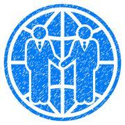Global Partnership Grainy Texture Icon Stock Illustration