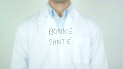 Bonne Santé, Good Health writing in French on Glass Stock Footage