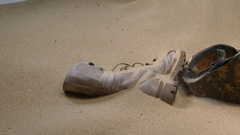 Soldier hat boots and sand glass  Stock Footage