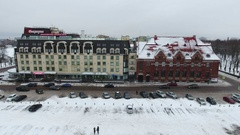 Building of hotel Victoria and parking space are at the Market Square, Vyborg Stock Footage