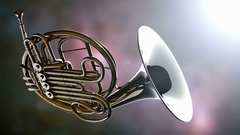French horn rotate with bokeh background Stock Footage