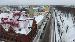 The Lenin avenue is in the Vyborg at winter season. Russia Stock Footage
