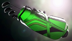 Golf putter in a golf bag with bokeh background Stock Footage