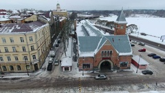 Top view at building of central market. Vyborg is town in Leningrad Oblast Stock Footage