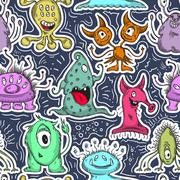 Seamless pattern with cute monsters. Cartoon characters Stock Illustration