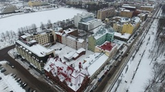 The central part of the city with the Lenin avenue and the Market Square. Vyborg Stock Footage