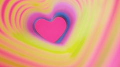 Colorful beating heart Rainbow spring. Valentine's Day concept. Pink heart frame Stock Footage