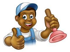 Cartoon Black Plumber Handyman Holding Punger Stock Illustration