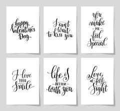 6 hand written lettering positive quote about love Stock Illustration