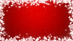 Valentines Day Video Frame with Flying Hearts on Red Background. Stock Footage