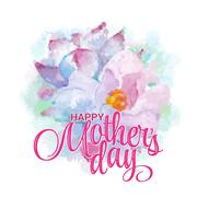 Lettering Happy Mothers Day. Watercolor imitation hand-drawn card. Not trace Stock Illustration