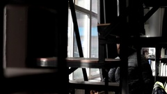 Man climbs the stairs and coming out of the premises Stock Footage