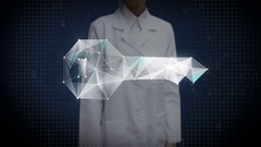 Female doctor touching Digital lines create key shape,  security solution. Stock Footage