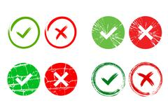 Tick and cross signs set Stock Illustration
