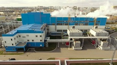 Aerial shot of Voronezh. Modern thermal power station. Russia. 4K Stock Footage