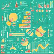 Business charts, graphs, stats doodles set. Stock Illustration