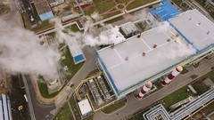 Aerial shot of Voronezh. Top view of modern heat power station. Russia. 4K Stock Footage