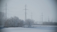 Big Electric Lines in Russian Village in Winter Stock Footage