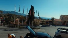 Amazing panorama in Malaga with green trees,houses and palmas,peolpe came to Stock Footage